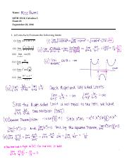 MTH 151 Combination Exam for Solutions
