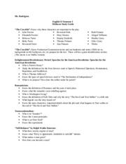 English III Semester I Midterm Study Guide 2012-2013