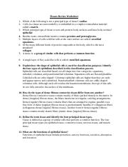 Biology Chapter 8-9 Tissues Review Worksheet