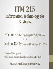 ITM 215 - Lecture 2 - Database concepts