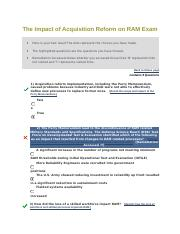 The Impact of Acquisition Reform on RAM Exam.docx
