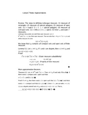 Lecture 7 Notes Approximations