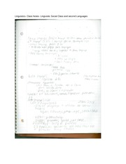 Linguistics- Class Notes- Lingiuistic Social Class and second Languages