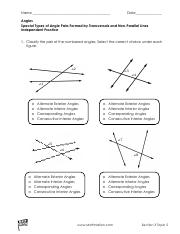 Special Angle Pairs 1