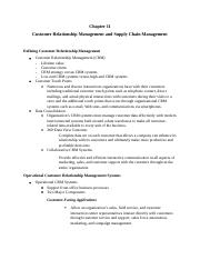 Chapter 11 Customer Relationship Management and Supply Chain Management.docx