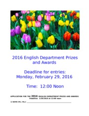 Prizes and Awards 2016 English Department