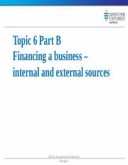LB5212 Topic 6 Part B Financing the business internal and external