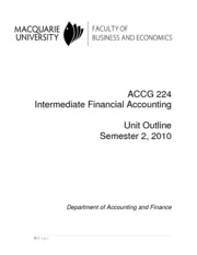ACCG224- Intermediate Financial Accounting-2nd semester-2010-4 August  2010
