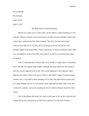 A Walk to Remember Paper (Comp and Crit Paper)