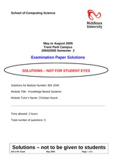 Examination Spring 2005 Solution on Knowledge Based Systems for Business
