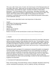 Course Handout- The Seven Cardinal Principles of Secondary Education