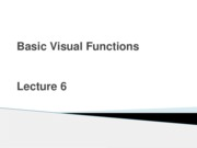 Sensation _ Perception - lecture 6 - basic visual functions