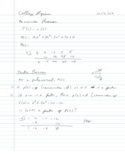 College Algebra Notes - 3.2 - Factoring using Synthetic Division