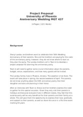 MGT 437 Project Proposal - Anniversary Wedding