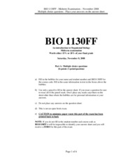 Organismal Biology - Midterm 2 Version A Answers