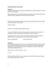 chemical reactions study guide 1