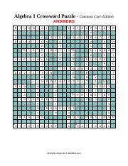 Algebra 1 CCSS Crossword Puzzle ANSWERS pdf - Algebra 1 Crossword