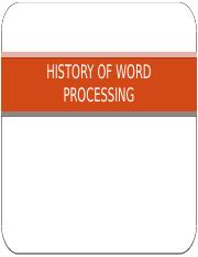 L3 - HISTORY OF WORD PROCESSING