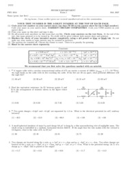 PHY2054 - Fall 2007 Exam 1