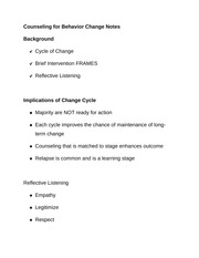 Counseling for Behavior Change Notes