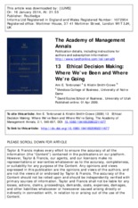 Tenbrunsel et al, 2009 - Ethical decision making_ Where we have been and where we are going.pdf