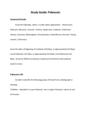 Study Guide Paleozoic