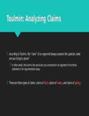 Toulmin: Analyzing Claims