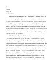 HIST 141 Women's Role  Essay