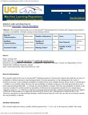 UCI Machine Learning Repository default of credit card clients Data Set