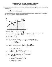 Sample mass problems Solutions