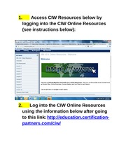 CIW Online Resources Student Access_Must Do_1
