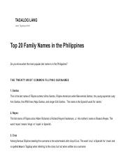Top 20 Family Names in the Philippines