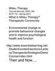 Milieu Therapy student notes 2014