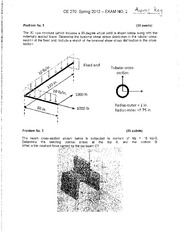 Spring 2012 Exam 2 Solution on Structural Mechanics