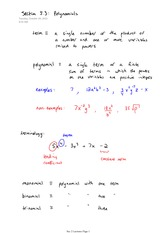 Math 141 Polynomial Notes