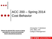 #09 CH5 MOODLE ACC200 Cost Behavior Spring 2014