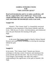 ?analysis of ìthe century quiltî by marilyn waniek essay Essay by madison4, high school, 11th grade, a+, april 2014  waniek's the  century quilt not only illustrates the importance that her.