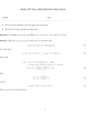 MATH 217 Fall 2013 Midterm Solutions