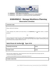 BSBHRM513 Manage workforce planning - Observation.docx