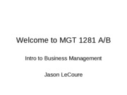 Lecture 1  Welcome to MGT 2281 A