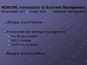 Lectures Wednesday 327 - Friday 329 - Planning and Strategic Management