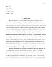 English  Essay  Rhetorical Analysis  Njie  Tiara Njie   Pages  Hoop Dreams Final