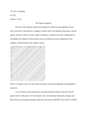 The Vigenere Sequence Paper