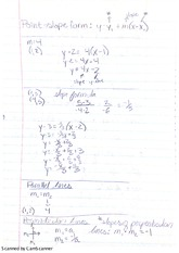 Notes on Point Slope Form and Slope Form