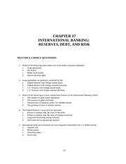 CHAPTER 17 INTERNATIONAL BANKING-  RESERVES, DEBT, AND RISK