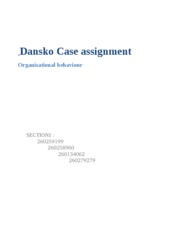 Dansko Case assignment