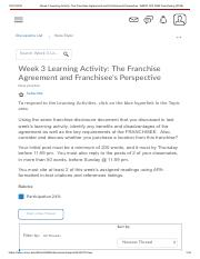 Week 3 Learning Activity_ The Franchise Agreement and Franchisee's Perspective - BMGT 302 7980 Franc