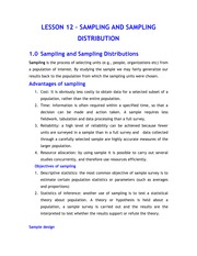 LESSON 12 - SAMPLING AND SAMPLING DISTRIBUTION