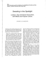 """Sweating in the Spotlight Lesbian, Gay, and Queer Encounters with Media and Popular Culture""."