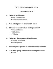 Lecture 9 Notes, Intelligence